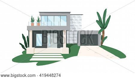 Modern Minimalistic Architecture Of Block House With Garage. Building Exterior Of Contemporary Villa