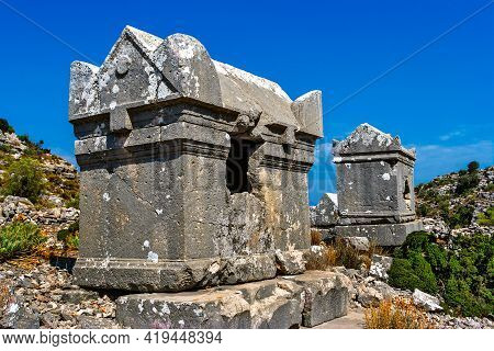 Ancient Stone Tombs In The Lycian Region Of Turkey