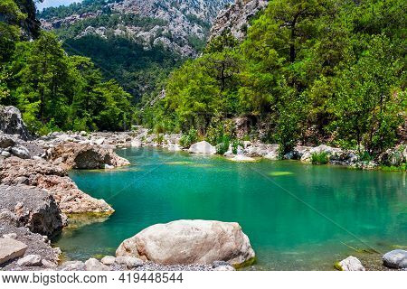 Blue Lakes In The Mountains On A Sunny Summer Day