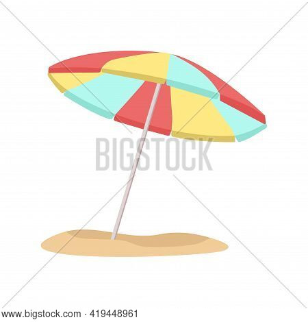 Beach Umbrella. Vector Illustration. Decorative Cute Element. Summer.
