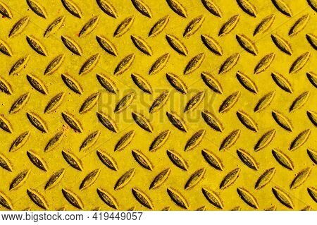 Yellow Paint Metal Sheet. Metal Grid Walkway. Grunge Steel Mesh Texture. Heavy Iron Backdrop Pattern