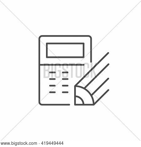 Calculation Process Line Outline Icon Isolated On White