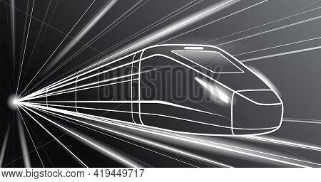 Outline Train In Motion On Black Background, Locomotive Move, Dynamic Transportation Illustration, V