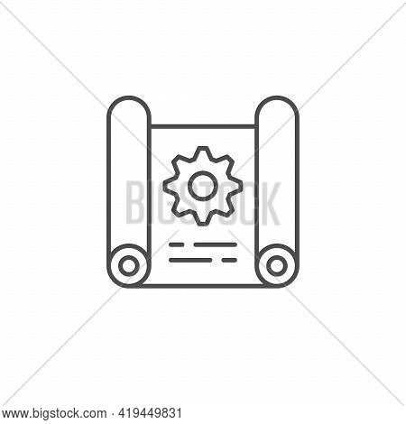 Technical Draft Line Outline Icon Isolated On White