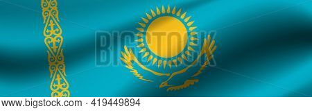 Banner With The Flag Of Kazakhstan Fabric Texture Of The Flag Of Kazakhstan.