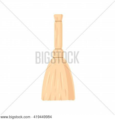 Manual Broomstick Or Besom For Sweeping And Cleaning. Broom With Straw Handle And Brush. Housework T
