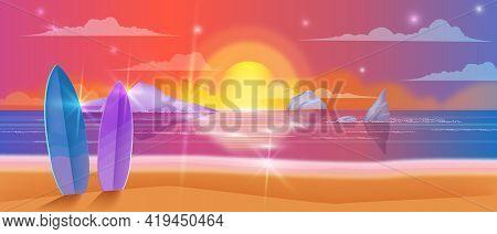 Beach Sunset Vector Background, Sky, Summer Ocean, Sea, Surfboard, Tropical Island Rocks, Sand, Star