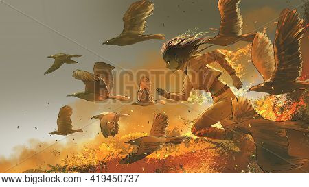 Woman Running Among The Fire Birds, Digital Art Style, Illustration Painting