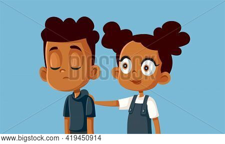 Little Sister Comforting Her Brother Vector Illustration