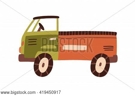 Plastic Truck Toy With Cabin, Bed, And Wheels. Side View Of Childish Lorry. Industrial Car For Shipm