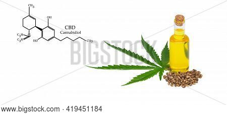 Cbd Elements In Cannabis, Hemp Oil Extracts In Jars On A White Background, Medical Marijuana, Legal
