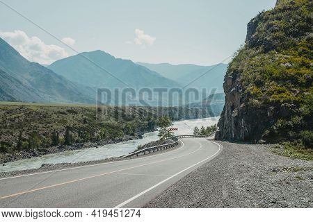 Scenic Landscape With Speed Limit Road Sign On Mountain Highway. Side View To Tract In Highlands. Be