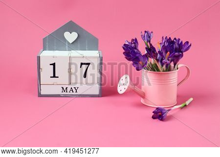 Calendar For May 17: A Cube With The Number 17, The Name Of The Month Of May In English,a Pink Water
