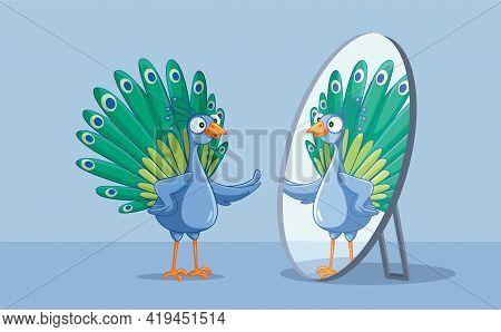 Beautiful Peacock Admiring Itself In The Mirror