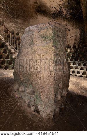 Ritual Stone With Ancient Inscriptions In The Economic Cave - Columbarium - A Dovecote Near The Exca