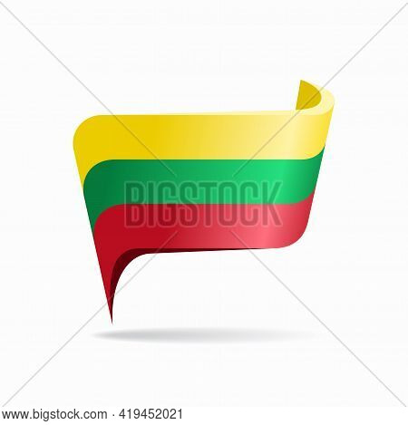 Lithuanian Flag Map Pointer Layout. Vector Illustration.