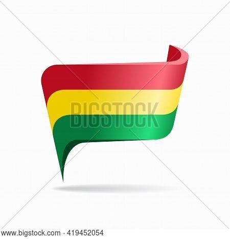Bolivian Flag Map Pointer Layout. Vector Illustration.