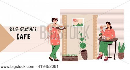 Fast Food Restaurant Or Cafe Website Template With Characters Of Waitress And Client, Flat Cartoon V
