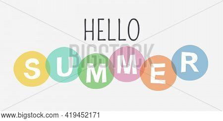 Abstract Banner Modern Colored Design With Text - Hello Summer.