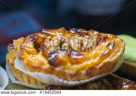Delicious Fresh Shortcrust Tart Cake With Cream And Walnut For Sale On Counter Of Shop, Grocery, Mar