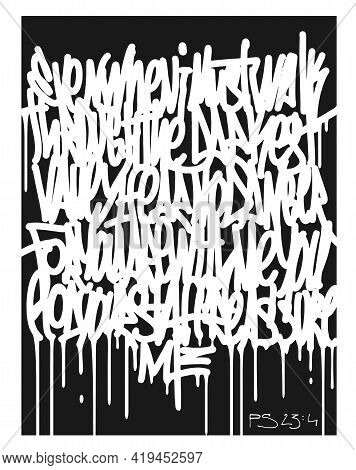 Calligraphy Abstract Graffiti Lettering, Psalm 23:4, Hand Drawn Lettering.