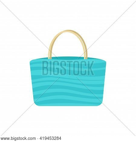 Striped Beach Bag. Vector Illustration. Decorative Cute Element. Summer.