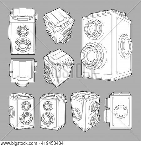 Vector Set With Neat Accurate Illustration Of Vintage Square Photo Camera.collection With 3D Views R