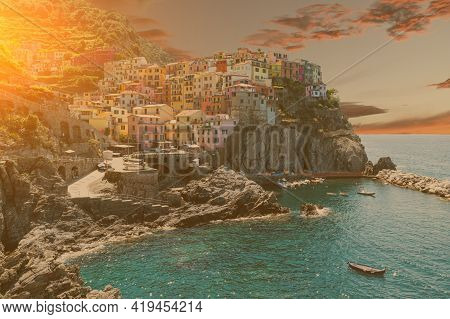 Manarola, Liguria, Italy. June 2020. Amazing View Of The Seaside Village. The Colored Houses Leaning