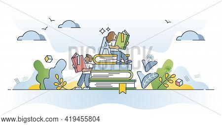 Reading Books And Course Learning From Library Literature Outline Concept. Academic Study And Cognit