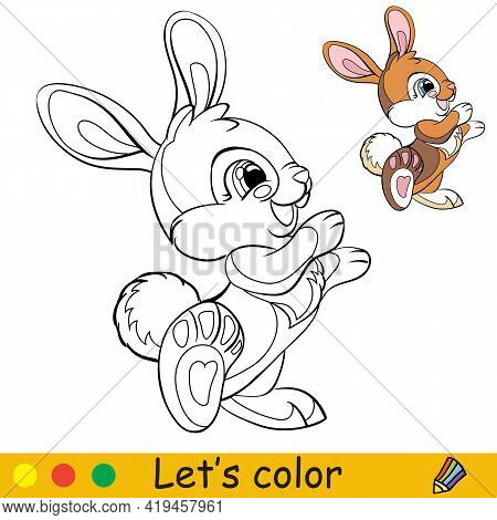 Cute Standing Rabbit. Cartoon Character Rabbit. Coloring Book Page With Colorful Template. Vector Co