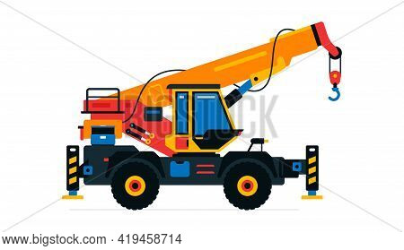 Construction Machinery, Truck Crane. Commercial Vehicles For Work On The Construction Site. Vector I