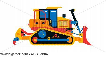 Construction Machinery, Bulldozer. Commercial Vehicles For Work On The Construction Site. Vector Ill