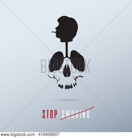 May 31st World No Tobacco Day Poster Design. Skull Created From The Lungs Of Smoker To Convey The Sm