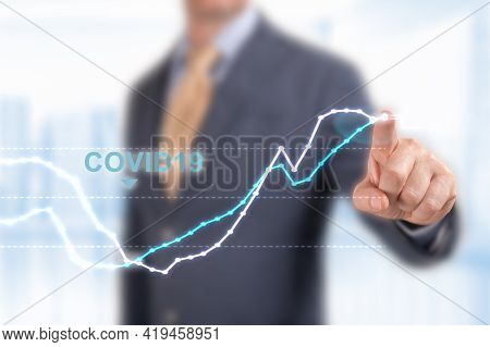 Analysts Hoping For A V Shape Recovery And Rising Economic Performance. Concept Of Economic Recovery