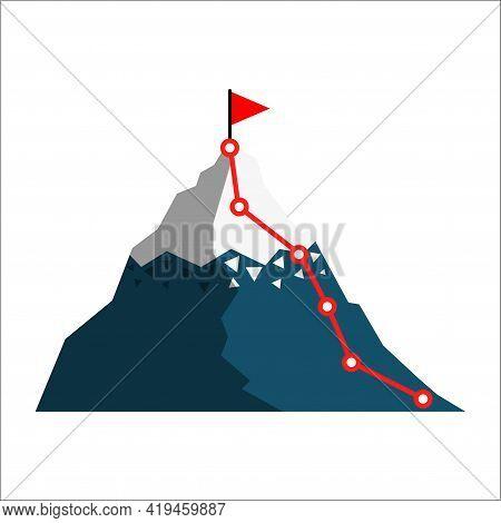 Mountain Climbing Route. Cimbing Route Icon. Route To Peak. Flat Infographic With Mountain Climbing