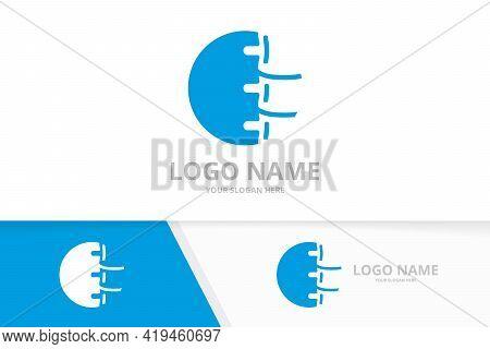 Vector Logo Design For Spine Clinic. Vertebral Column Logotype Template.