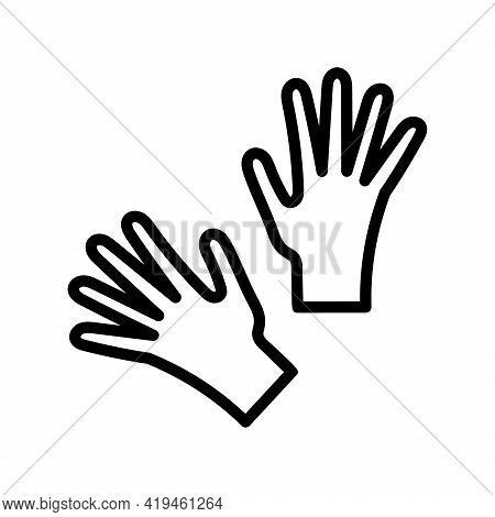 Gloves Flat Line Icon. Medical Gloves, Gloves For Cleaning, Gloves For Gardening. Simple Flat Vector
