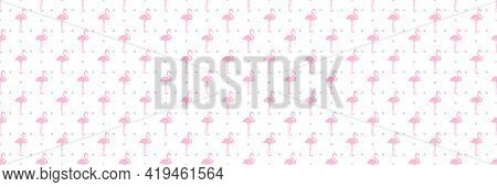 Seamless Dotty Background With Flamingos. Print For Polygraphy, Shirts And Textiles. Abstract Textur