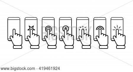 Hand Push Touchscreen Icon Set. Touch Vector Icon Set. Flat Touch Icon For Concept Design. Isolated
