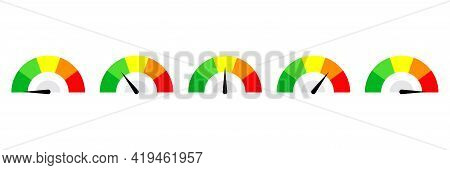 Speedometer Button Set. Set Of Color Vector Speedometers. Set Of Indicators.flat Illustration With S