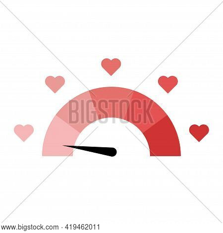 Meter Of Love. Love Measuring Icon. Lovemeter Illustration. Illustration With Red Love Speedometer O