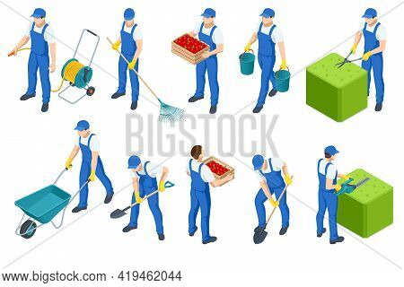 Agricultural Work. Isometric Isolated Icons Of Man Working On Farm, In Garden. Man Hands Cuts Branch