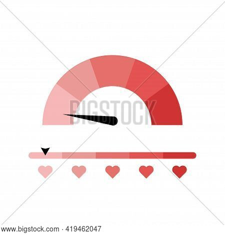 Love Measuring Icon. Meter Of Love. Lovemeter Illustration. Illustration With Red Love Speedometer O