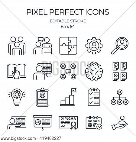 Internship, Training And Studying Concept Editable Stroke Outline Icons Set Isolated On White Backgr