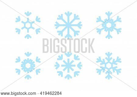 Blue Snowflakes On White Background. Blue Snowflakes Vector Set. Isolated Vector. Window Frozen Glas