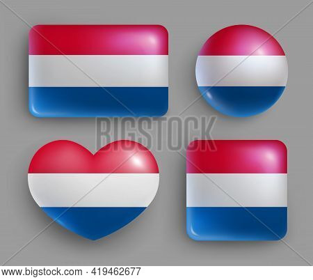Glossy Buttons With Netherlands Country Flags Set. European Country National Flag Shiny Badges Of Di