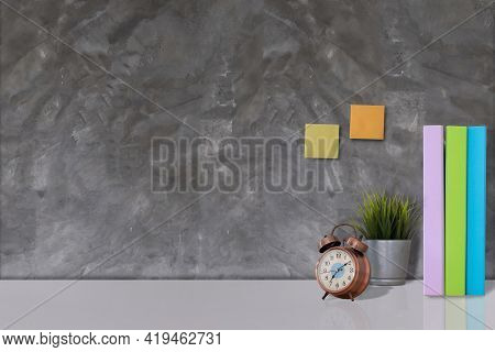 Contemporary Workspace With Plants , Clock Workspace And Copy Space