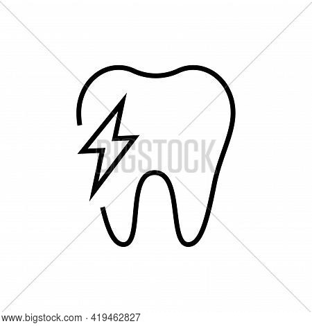 Toothache Icon. Dentistry On White Background. Editable Stroke.