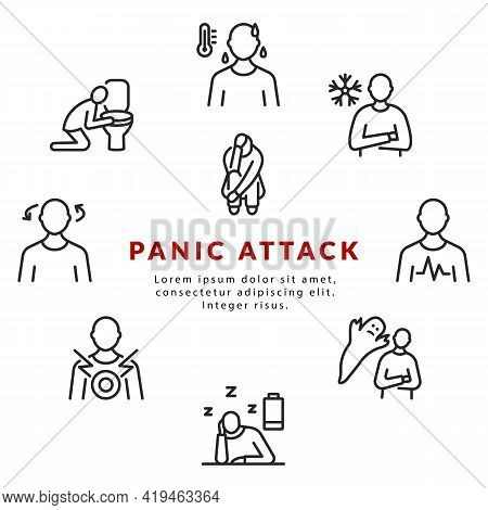 Panic Attack Symptoms Circle Banner With Flat Line Icon. Vector Illustration Psychological Illness C