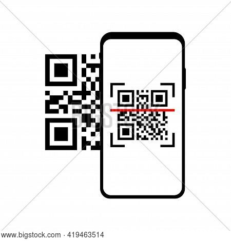 Phone Scanning Qr Code. Qr Code Scanner. Qr Code Payment Concept. Smartphone Screen With Qr Code Iso